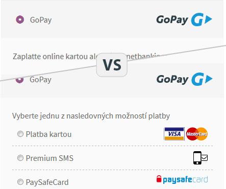 GoPay možnosti zobrazenia